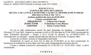 Decizia Curții de Apel București în dosarul 26026/3/2019